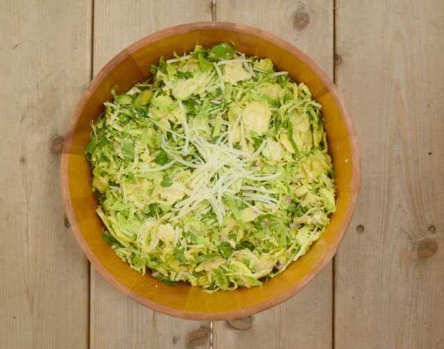 Gorgeous raw shaved Brussels Sprouts salad