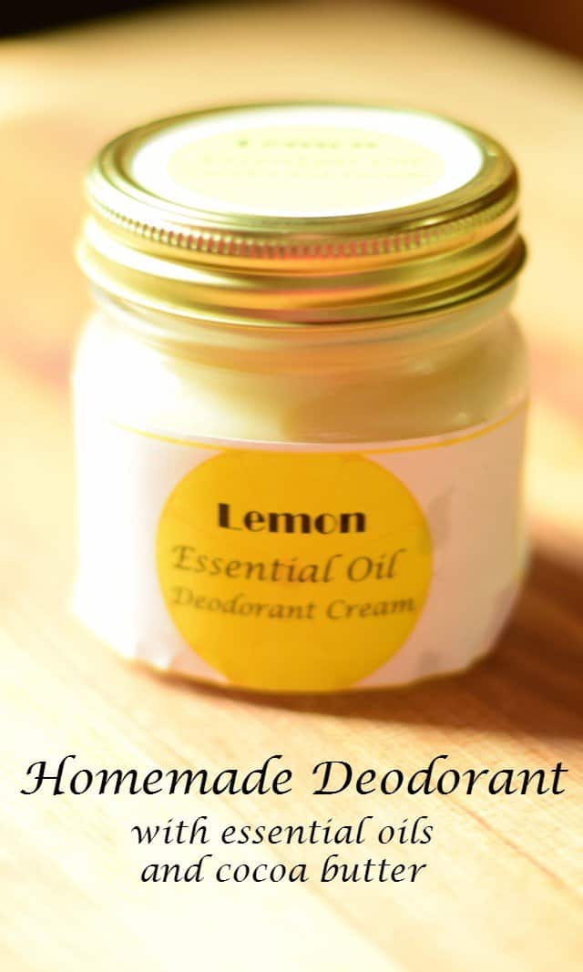 Homemade deodorant with essential oils and cocoa butter tutorial: This all natural deodorant recipe works on the stinkiest armpits and is truly effective with no chemicals added. Choose your favorite essential oil to customize the scent. Easy DIY project.
