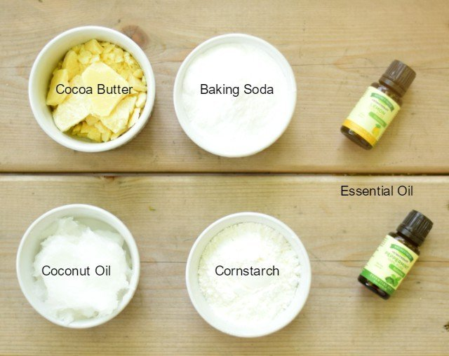 Ingredients needed for homemade deodorant cream with essential oils