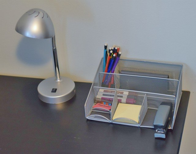 Have supplies organized on your desk homework station