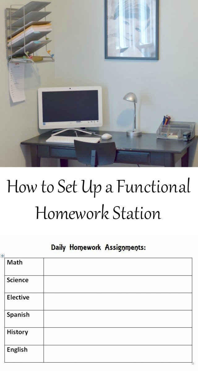 How to Set up a functional homework station for your kids for back to school. Make it easy with an included free printable daily and long term homework tracker, too. No more stress or distractions!