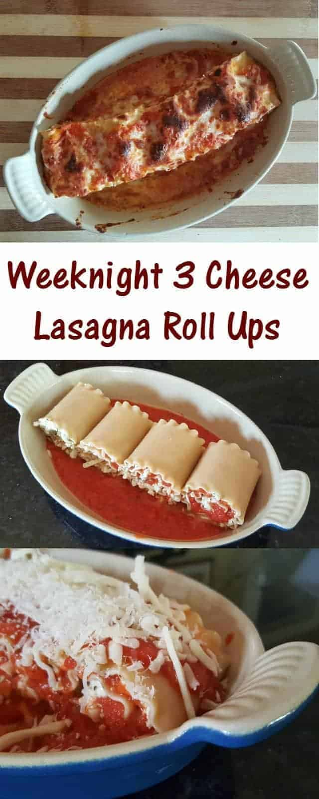 Weeknight 3 cheese lasagna roll ups recipe for a delicious and easy Italian dinner. Prep it ahead for busy nights, and have perfect portion control with leftovers