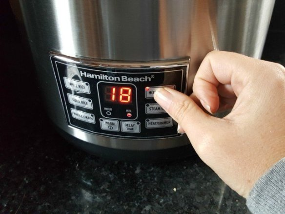 Set rice cooker for hot cereals