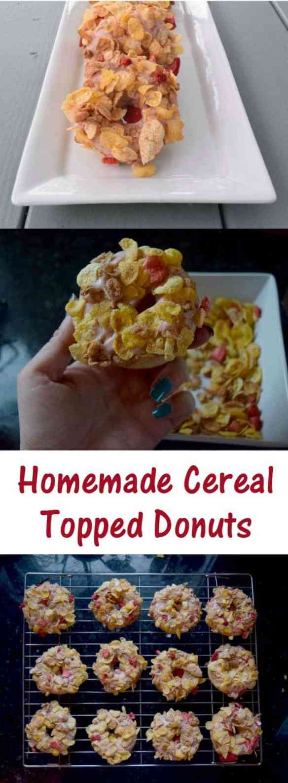 These homemade strawberry cereal topped donuts are easy to make and healthier than fried. From scratch baked donuts recipes are easy to follow and are a perfect weekend breakfast treat. Get creative with your toppings and enjoy cereal anytime!