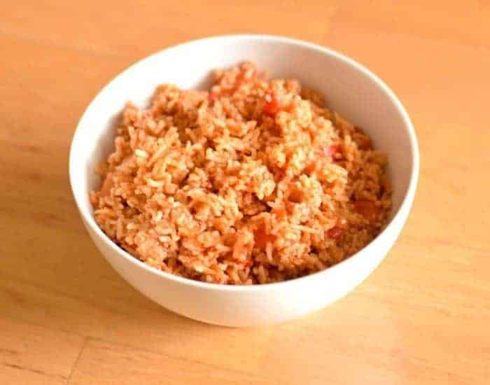 Bowl of delicious easy gluten free Spanish rice from the Instant Pot