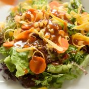 Delicious healthy salad with homemade bbq vinaigrette recipe
