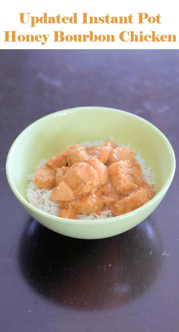 Updated Honey Bourbon Chicken recipe for the Instant Pot. This kid friendly dinner is quick to make and delicious. It's updated to be better for you without sacrificing flavor thanks to some fun kitchen tricks. Easy adaptations make this gluten free, and it is naturally dairy free.