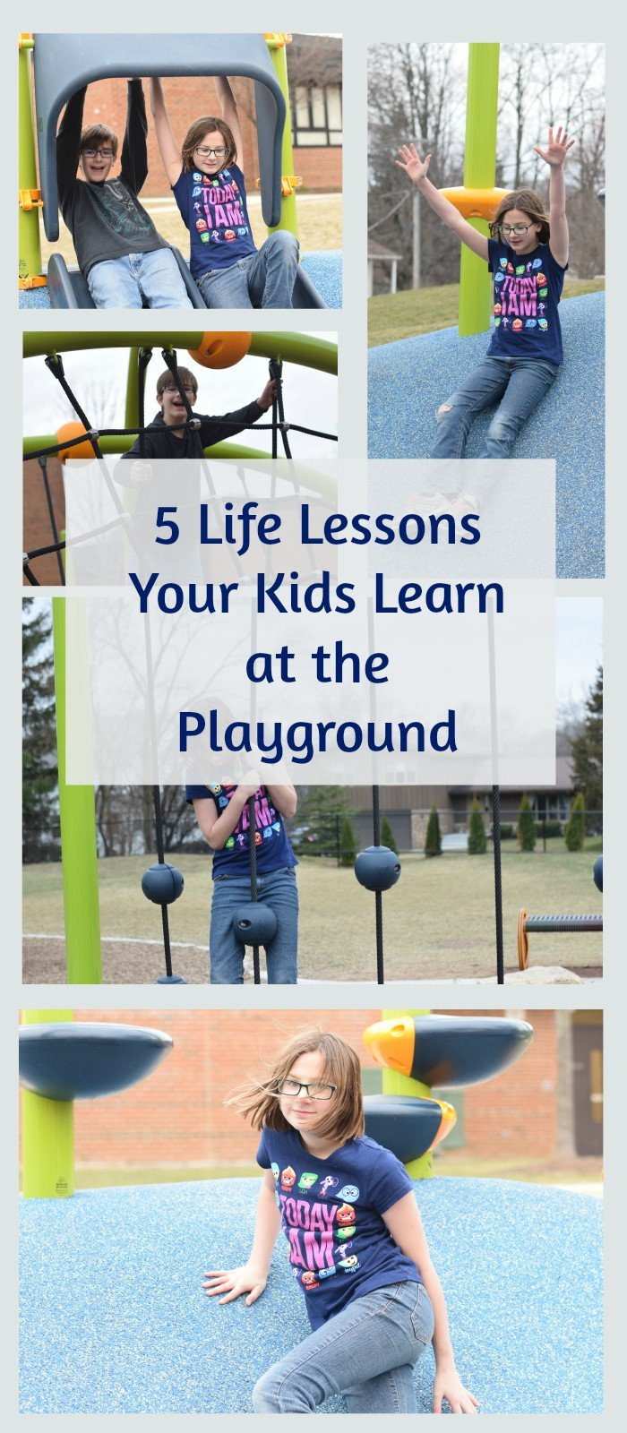 5 Life Lessons kids learn. Playground benefits kids both physically and mentally. This is a great excuse to go visit a park near you today!