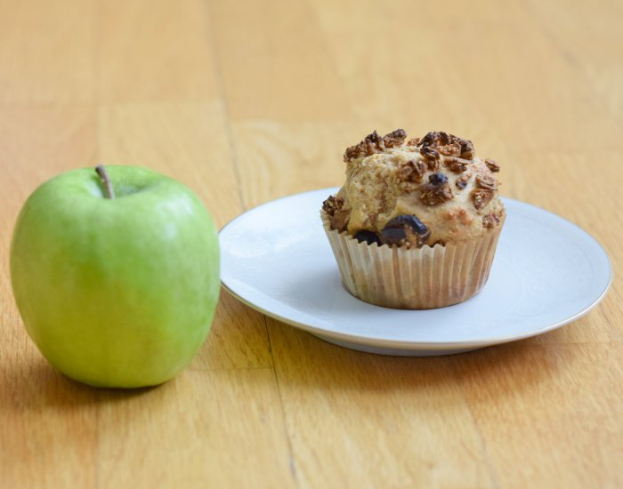 Enjoy a tasty homemade apple cinnamon muffin