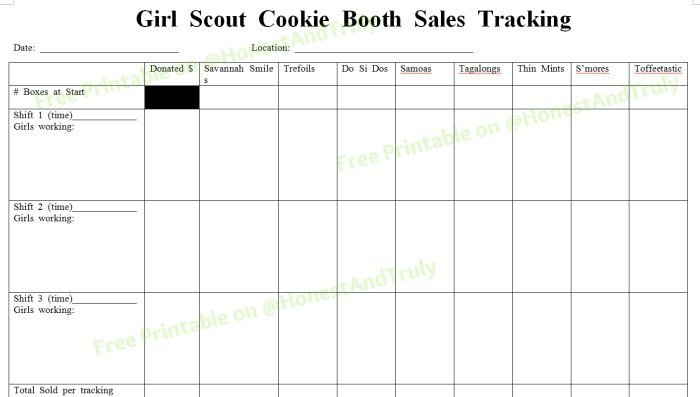 Girl Scout cookie booth sales tracking free printable
