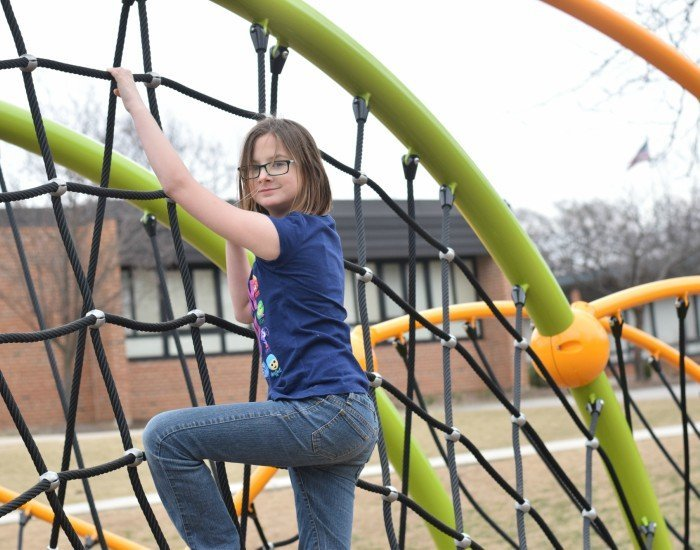 Playground benefits include building core strength