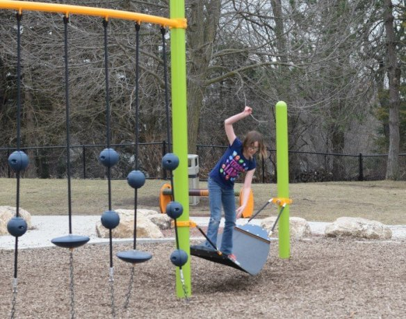 Playing at a playground helps teach perseverance
