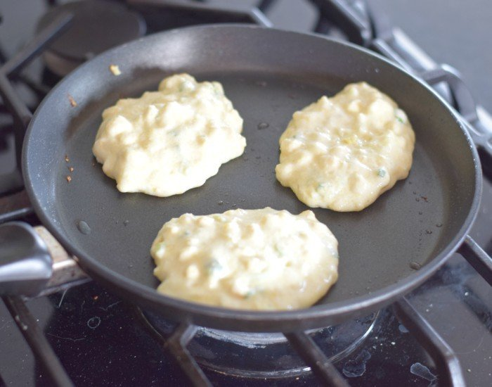 Add batter by tablespoons to a heated nonstick pan