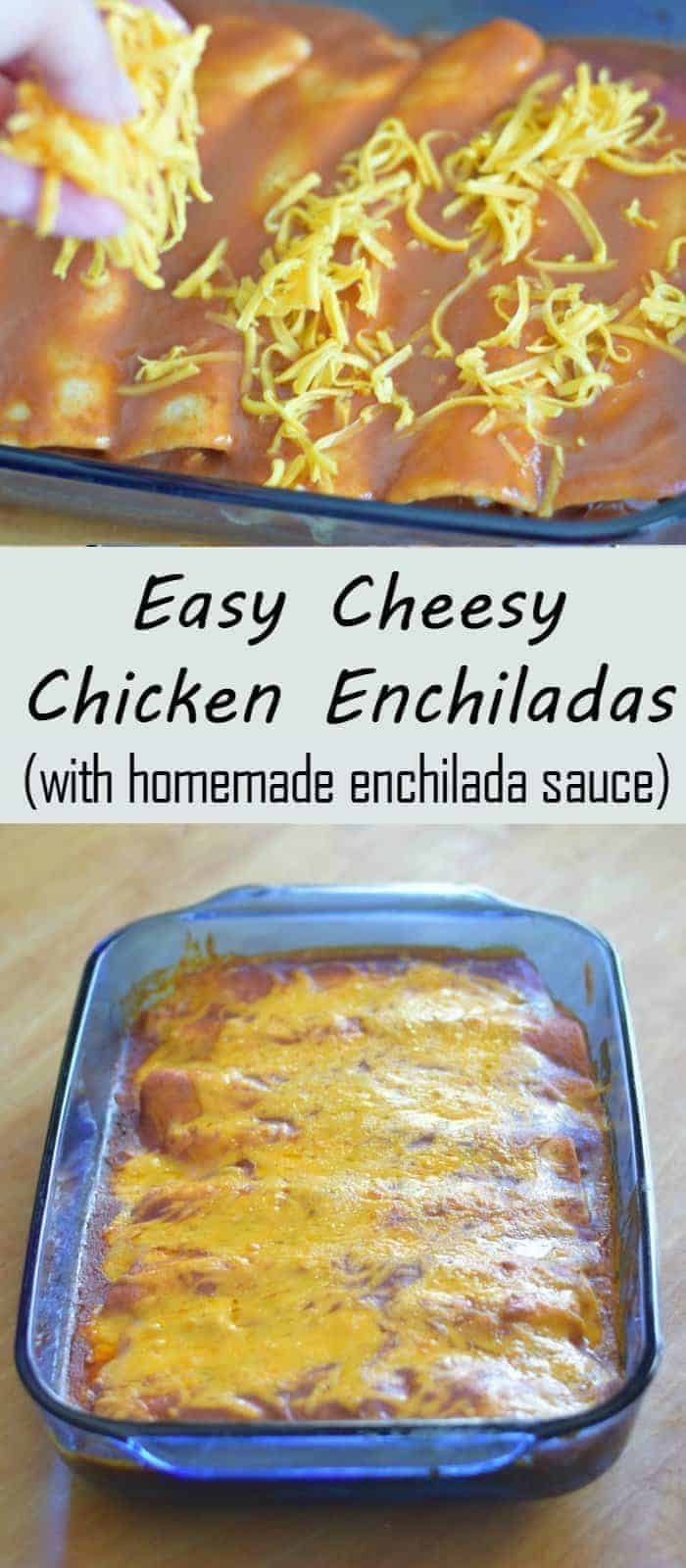Easy cheesy chicken enchiladas recipe with homemade enchilada sauce. This kid friendly dinner is ready in about a half hour and uses flour tortillas to make it easier!