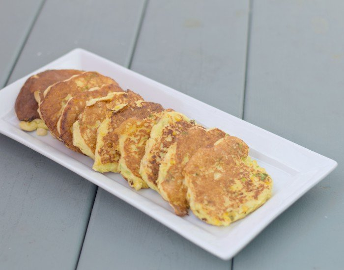 Platter of corn fritters