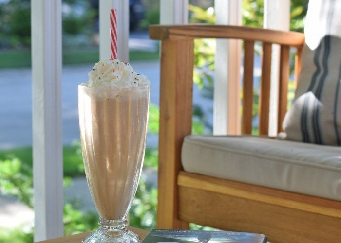 Cake Batter Frappe on a peaceful summer morning