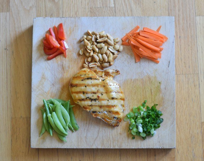 Ingredients for homemade kung pao chicken salad recipe