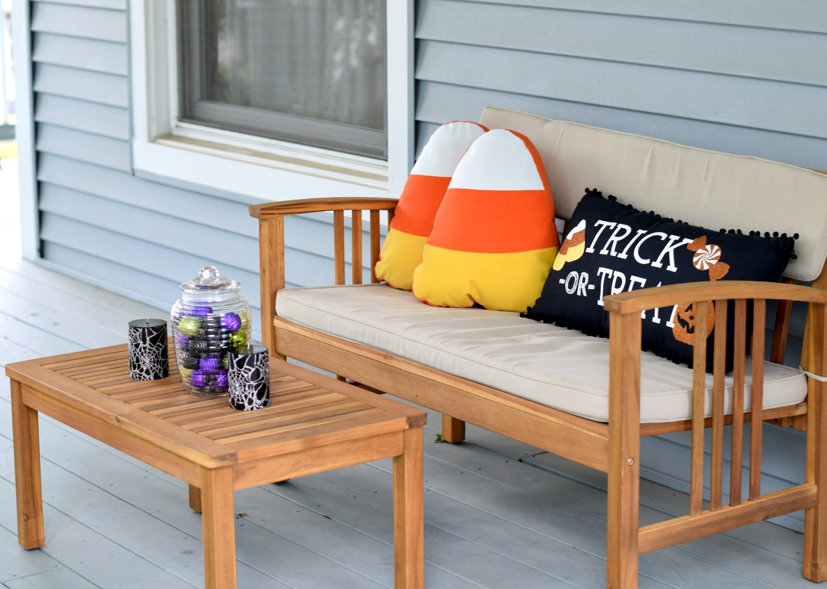 Cozy Halloween Front Porch Seating Decor
