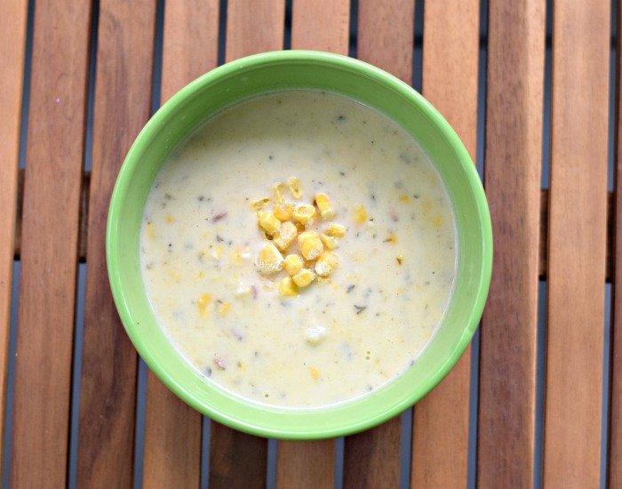 Delicious bowl of gluten free corn chowder