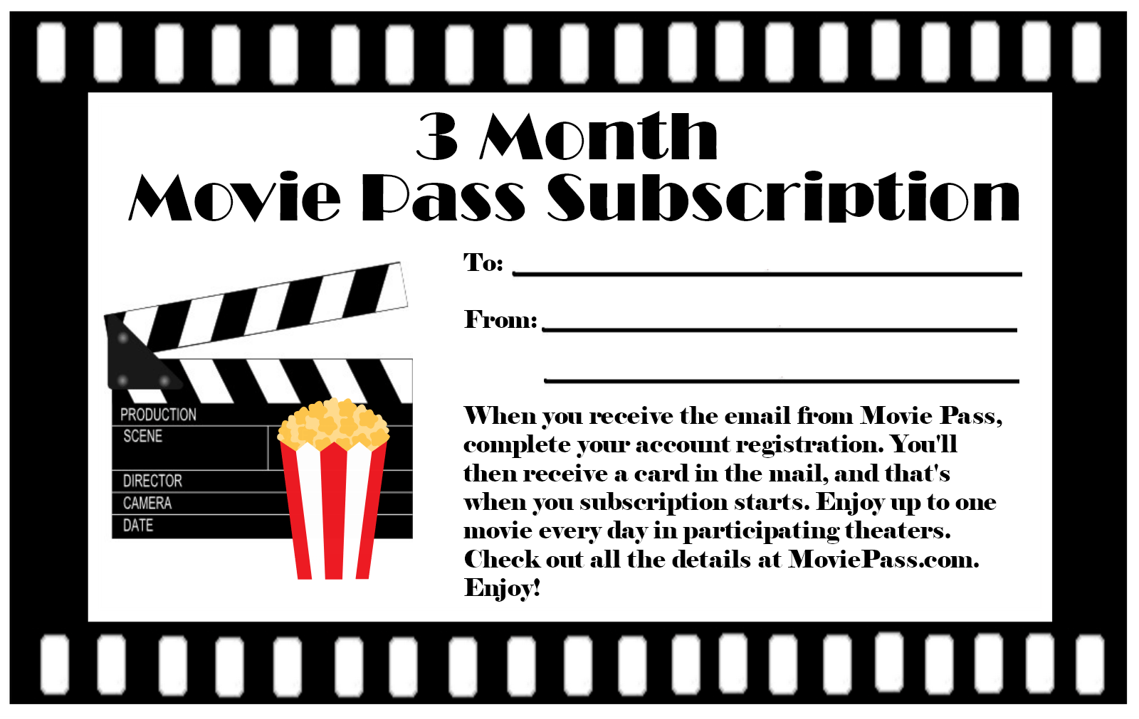 Movie Pass Subscription Gift Certificate Free Printable Download