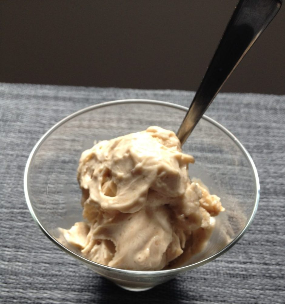 Healthified ice-cream with toffee sauce
