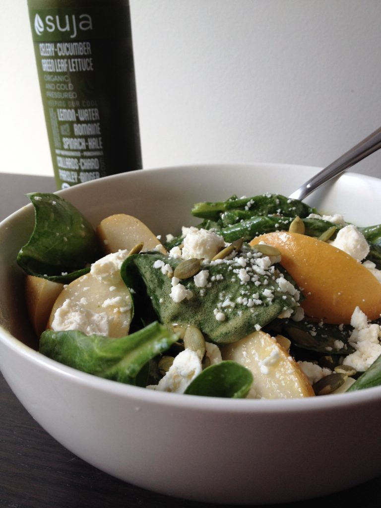 Asian Pear & Spinach Salad with Creamy Cider Dressing