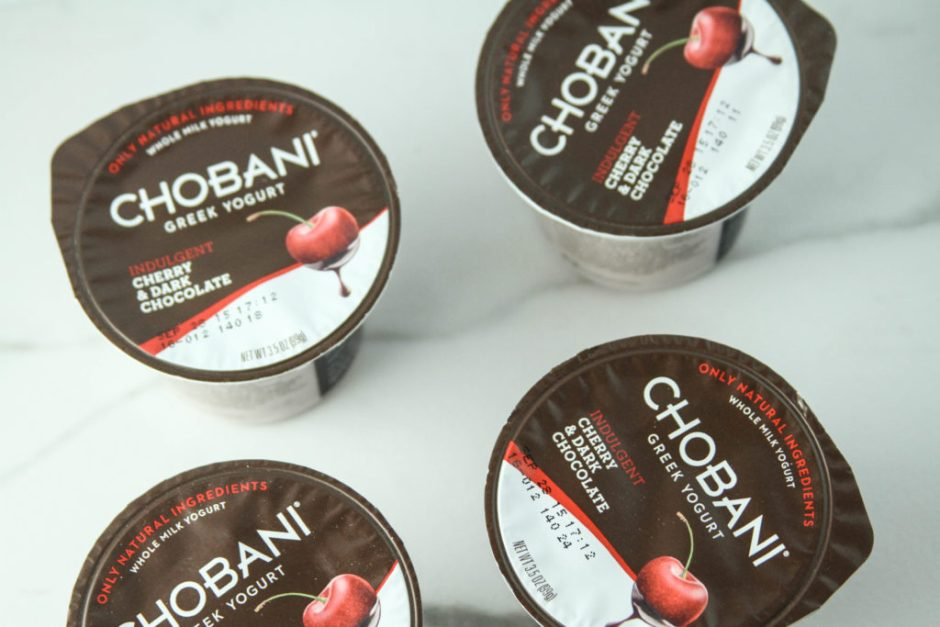 Chobani cherry dark chocolate is a healthy snack