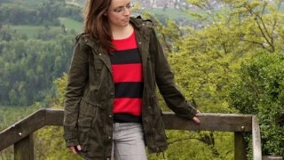 FashionablyEmployed.com | Stripes in pink and gray with an anorak jacket at the top of Mount Uetliberg in Switzerland
