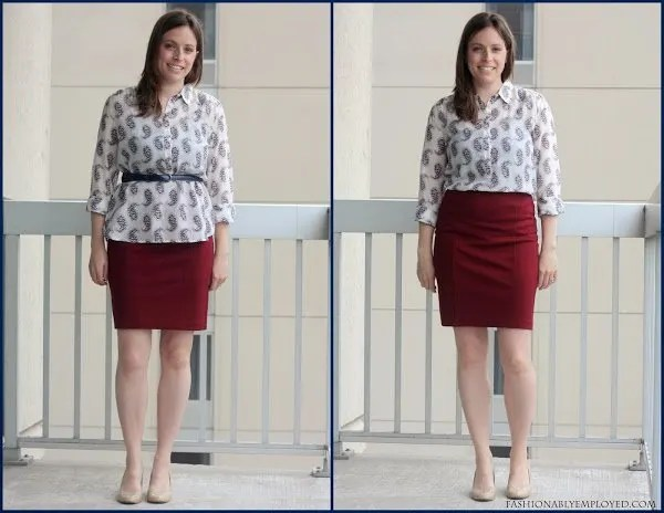 blouse and skirt with belt and tucked
