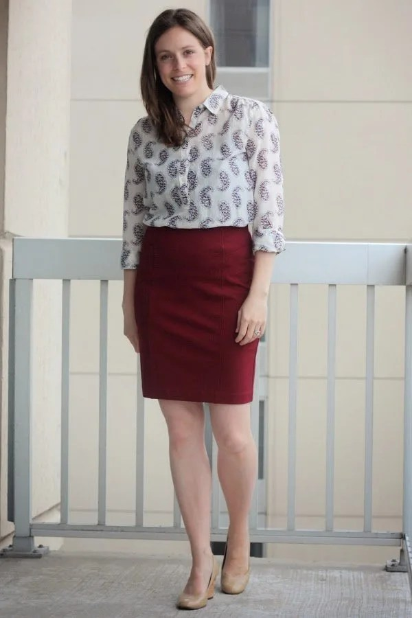 red skirt with paisley blouse tucked