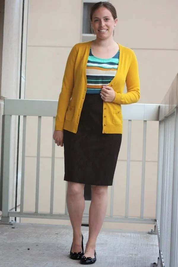 mustard cardigan and stripes with black for work