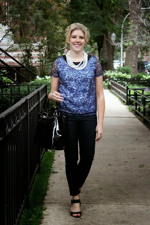 style spotlight blue blouse and pearls