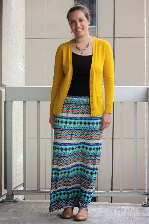 DIY maxi skirt, yellow cardigan, black shirt, and flats