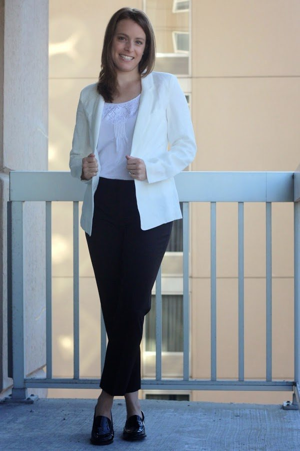 white Marine Layer blazer, black Theory pants, black women's loafers for work, women's office style