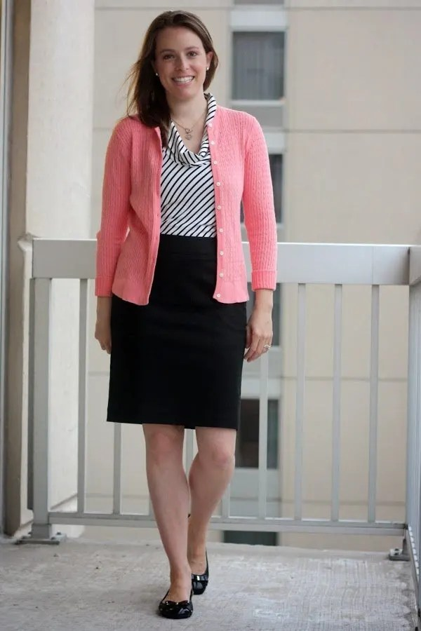 coral Lilly Pulitzer cardigan, black and white striped tank, black skirt, and black Cole Haan flats - wear to work - www.honestlymodern.com