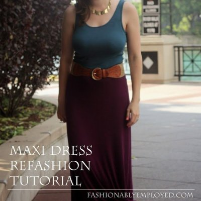 Refashioned Knit Tank Top to Maxi Dress ~ Tutorial