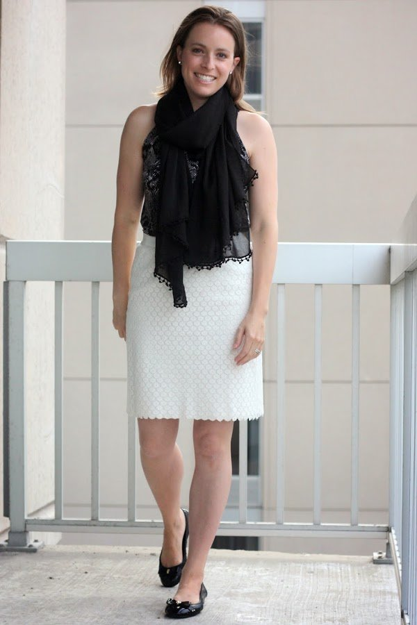 white thrifted LOFT skirt, black cardigan and black crepe scarf with black Cole Haan flats - wear for work, office - www.honestlymodern.com