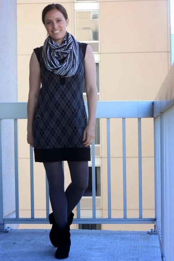 Gray argyle dress with pockets, black ankle boots, gray tights, DIY infinity scarf and tutorial - wear to work, casual, office - www.honestlymodern.com
