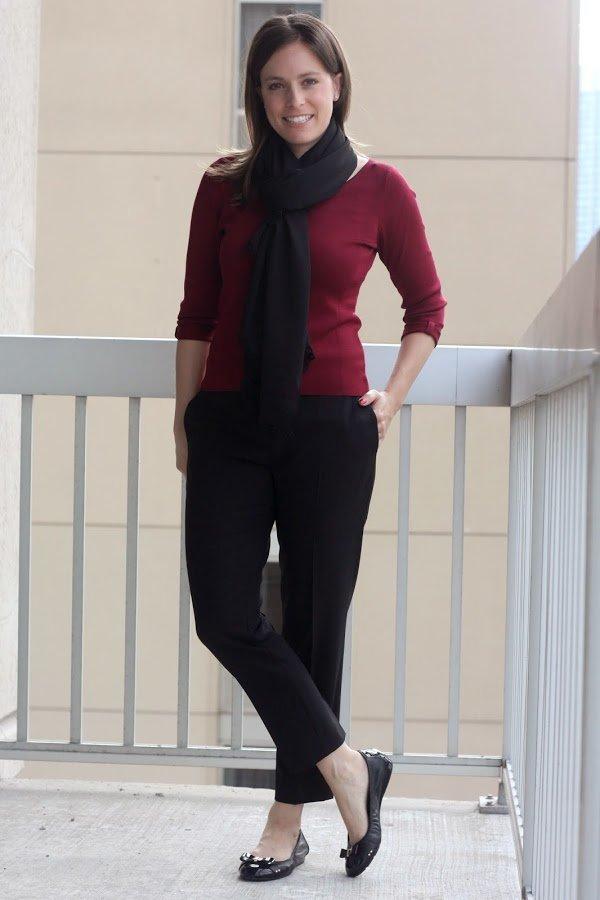 black cropped pants, red shirt, black scarf, black flats - wear to work, office - www.honestlymodern.com