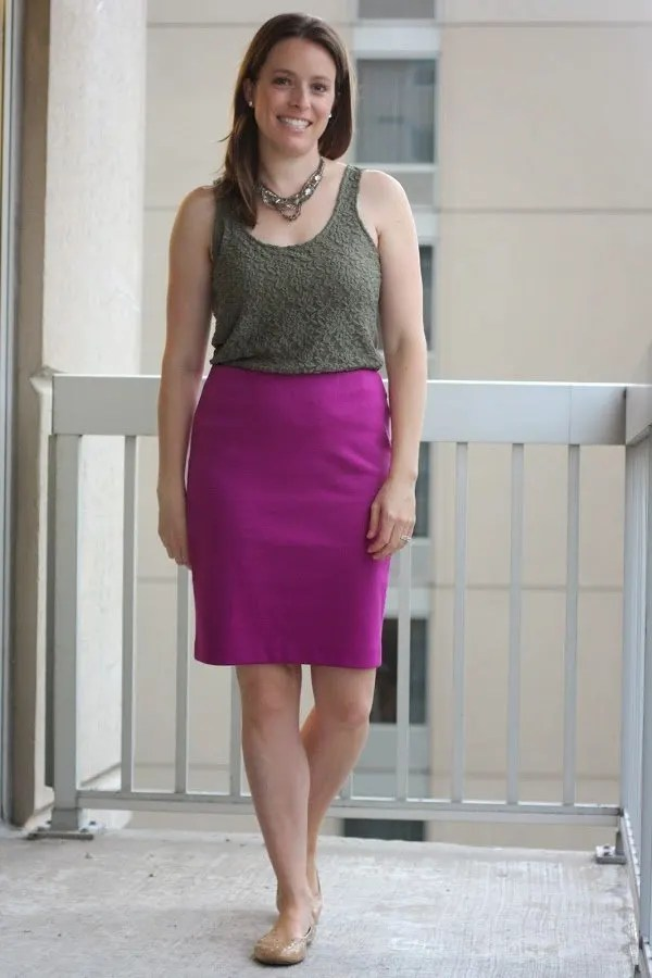 olive tank and pink skirt - wear to work, office - www.honestlymodern.com