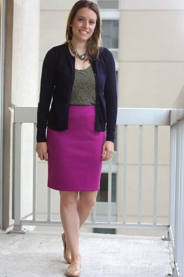 navy cardigan, olive tank and pink skirt - wear to work, office - www.honestlymodern.com