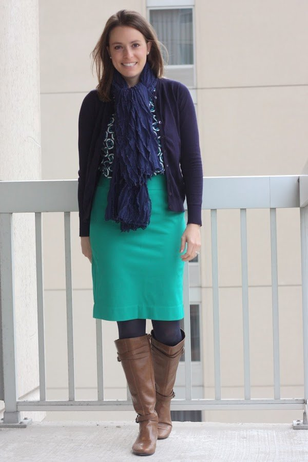 navy cardigan, teal pencil skirt, patterned blouse, and scarf with cognac boots - wear to work, office - www.honestlymodern.com