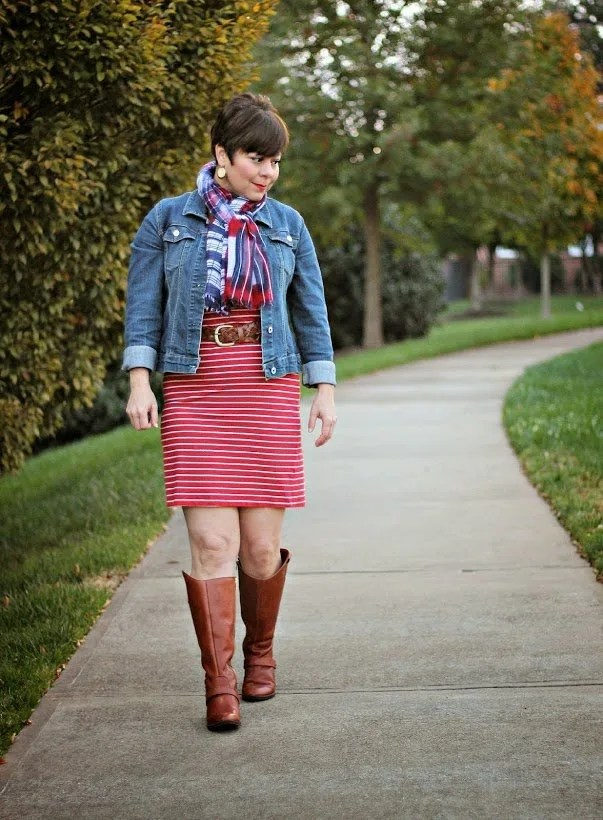 red and white striped knit dress with denim jacket, belt, cognac boots, and scarf | casual or dressy casual for fall | featured contributor to Sophisticated Style link up at www.honestlymodern.com