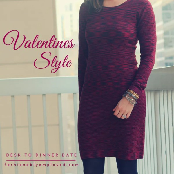 FashionablyEmployed.com | Valentine's Day Style: Desk to Dinner Date | Red sweater dress, black tights and booties, gray moto jacket or gray blazer | work to weekend style