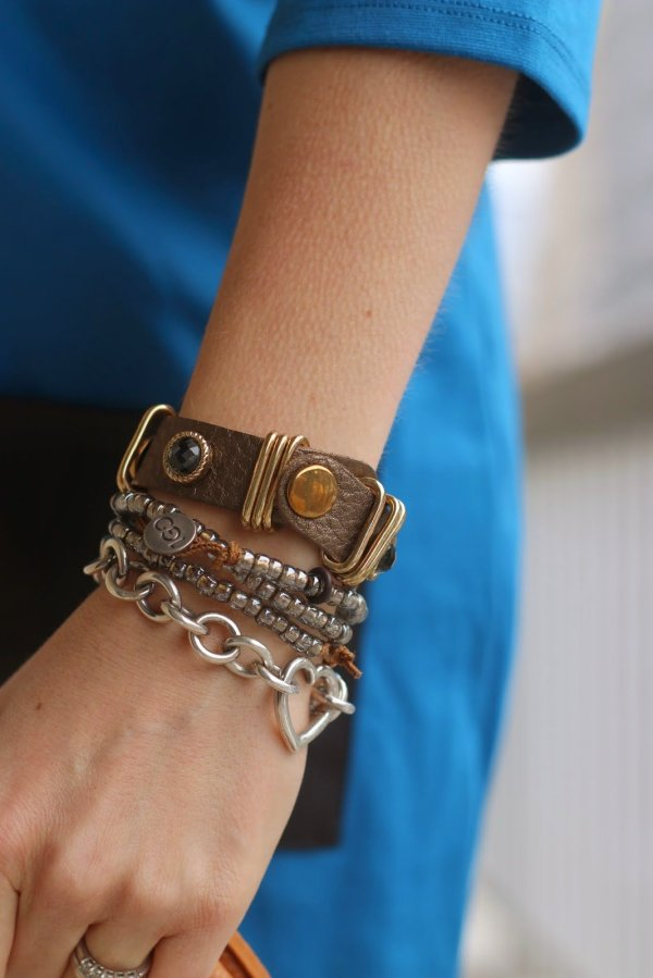 FashionablyEmployed.com | bracelet stack, mixed metals, with blue dress | wear to work, office style