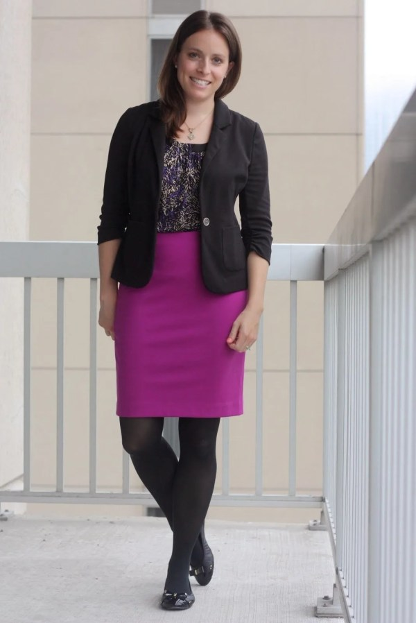 FashionablyEmployed.com | Dark Floral with a pop of magenta to brighten up winter style at work, black tights and black flats to stay comfortable in the office