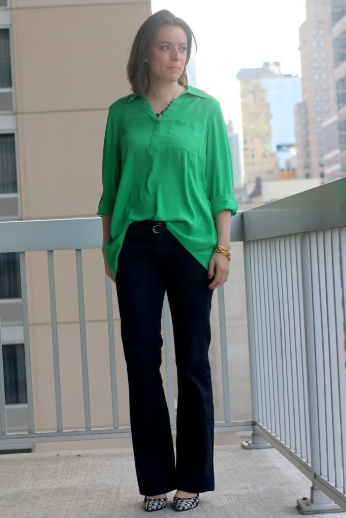 FashionablyEmployed.com | Green blouse, jeans, and houndstooth shoes, casual Friday wear to work outfit, office style, weekend casual