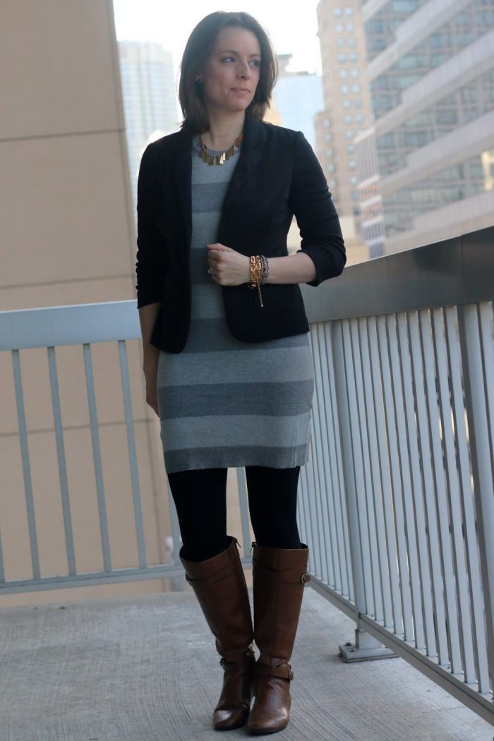 FashionablyEmployed.com | Chameleon Style: The Sweater Dress | gray sweater dress with black ponte blazer, black tights and cognac boots, all neutral style | wear to work outfit, office style, corporate chic, business casual