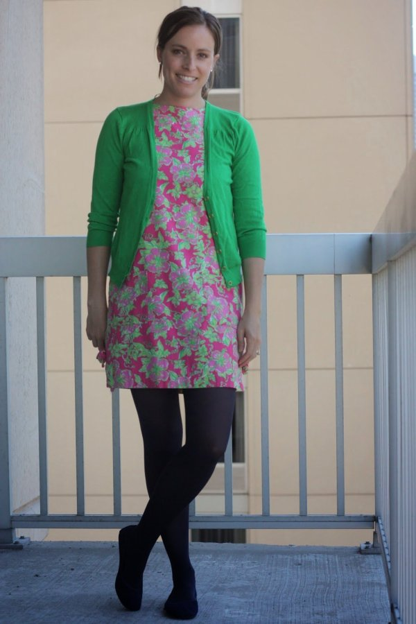 FashionablyEmployed.ccom | thrifted Lilly Pulitzer pink and green floral dress with kelly green cardigan