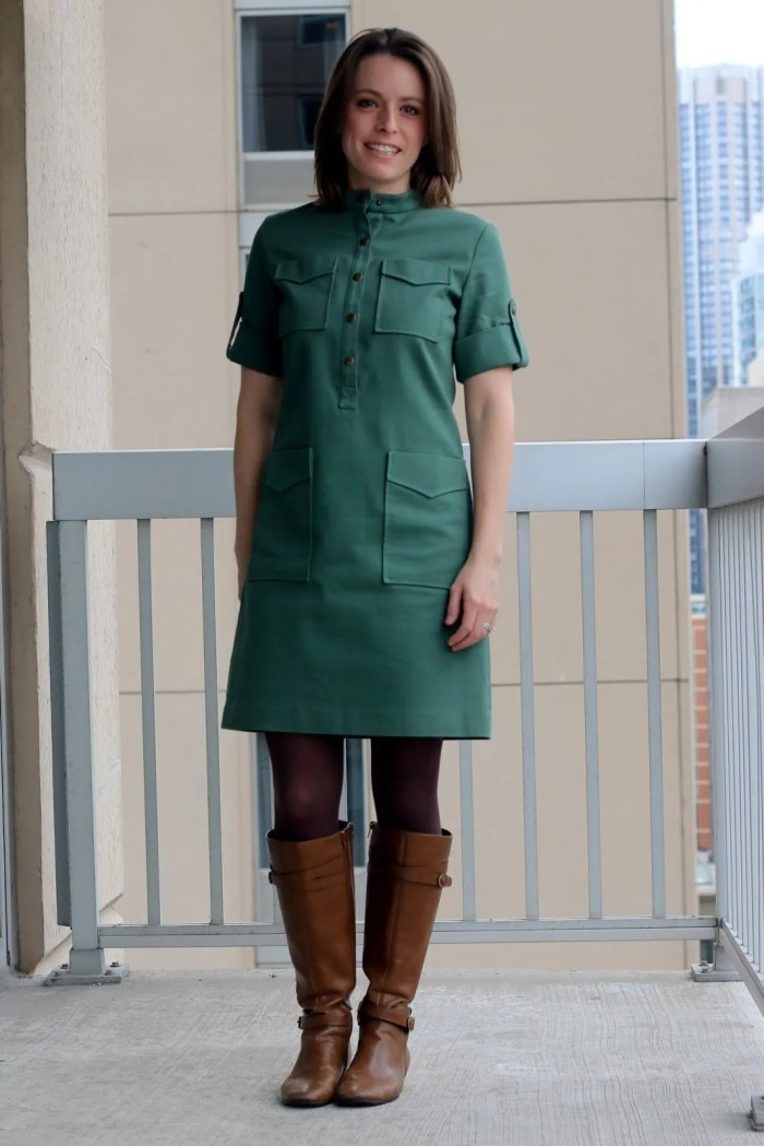 FashionablyEmployed.com | Thrifted Emerson Fry green dress with tights and cognac boots | Made in the USA | wear to work outfit, office style, business casual to brunch